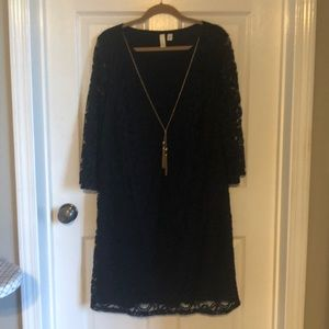 Navy blue dress with gold chain size 1X